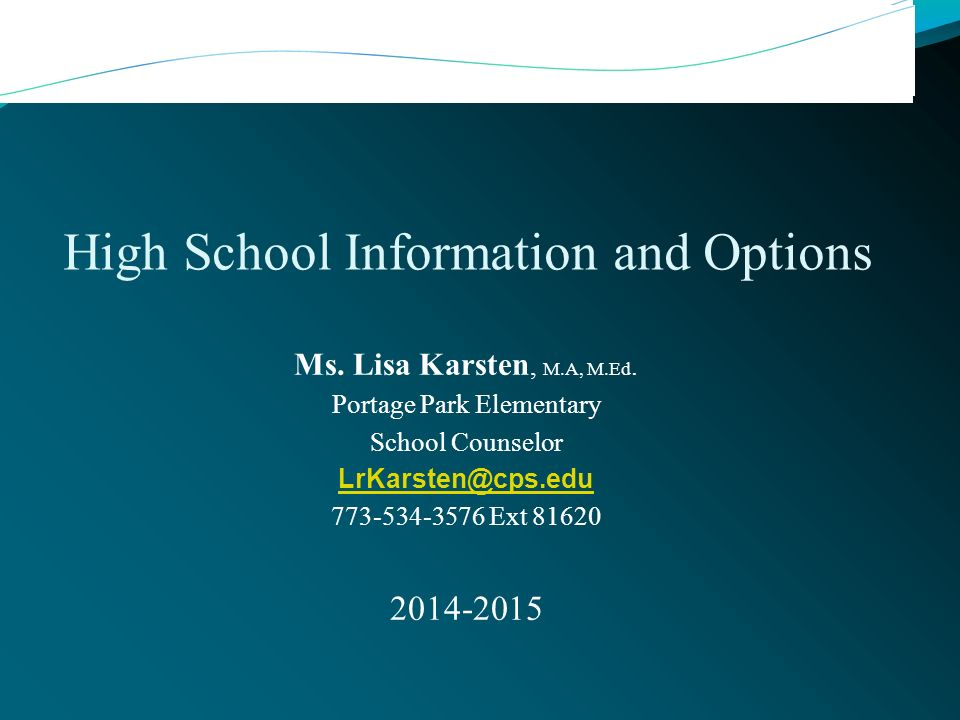 High School Information and Options