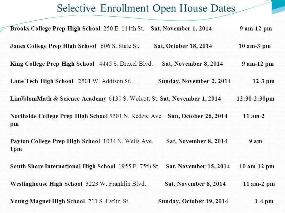 Selective Enrollment Open House Dates