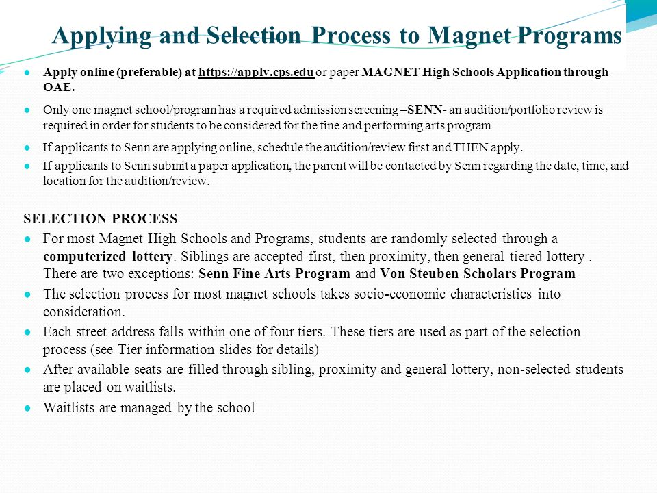 Applying and Selection Process to Magnet Programs