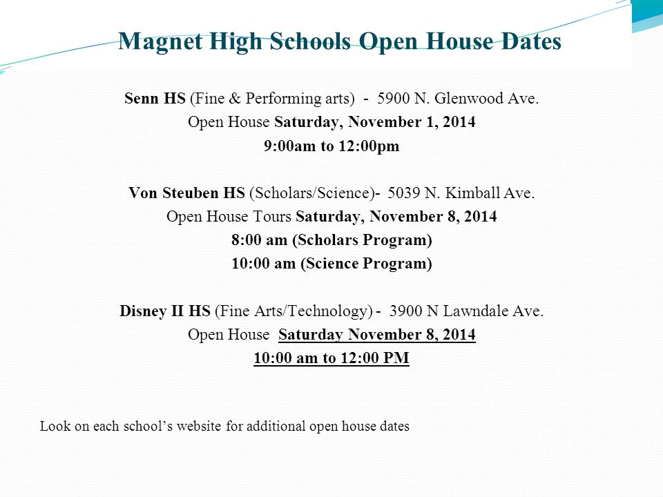 Magnet High Schools Open House Dates