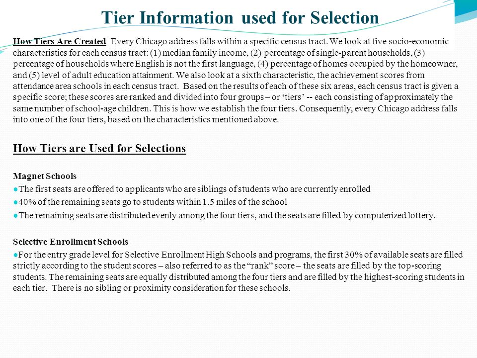 Tier Information used for Selection