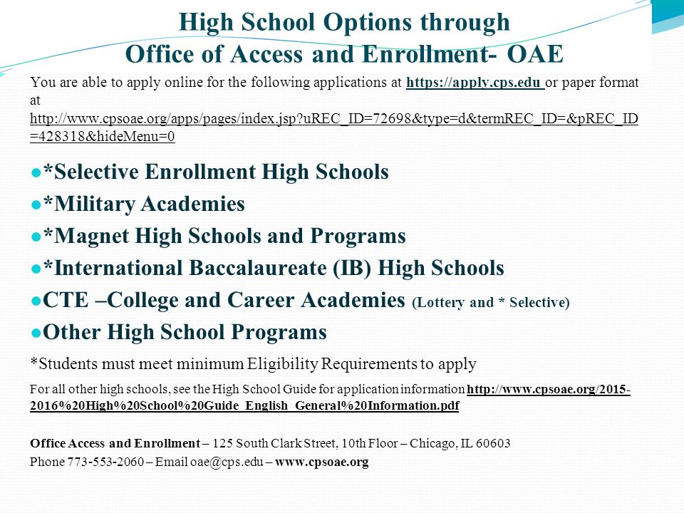 High School Options through Office of Access and Enrollment- OAE