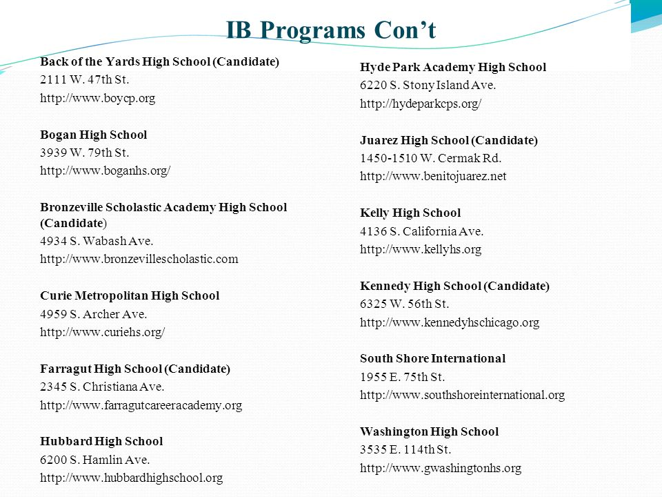 IB Programs Con't Back of the Yards High School (Candidate)