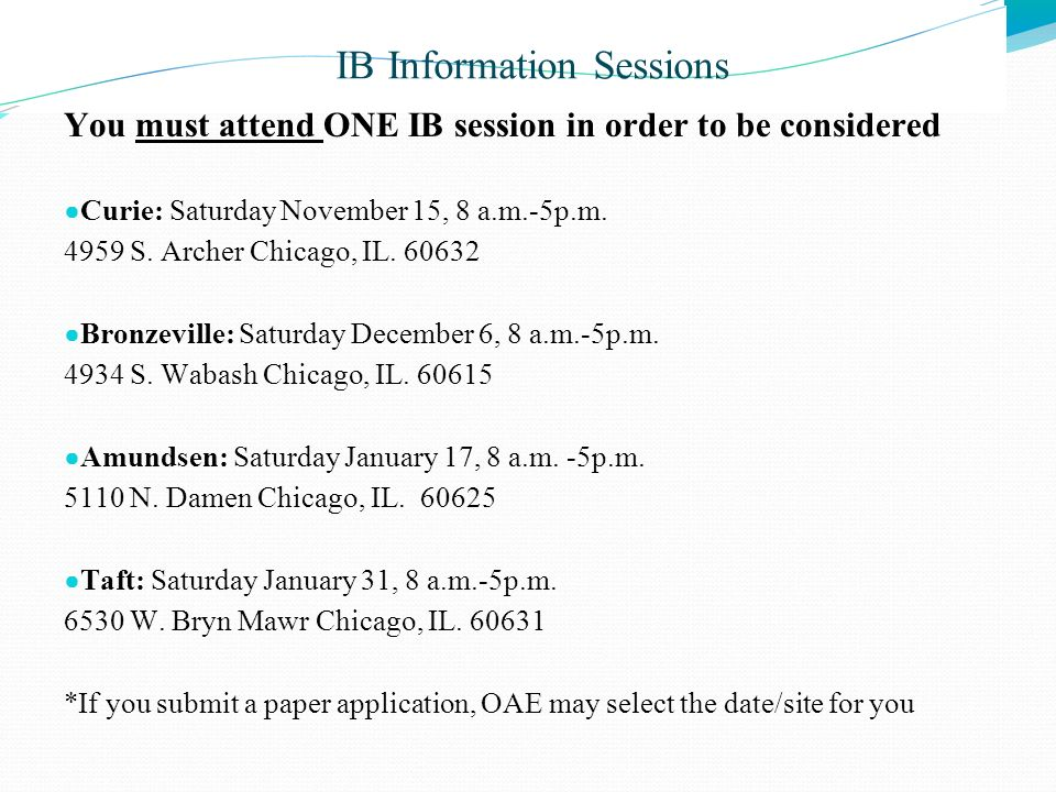 IB Information Sessions