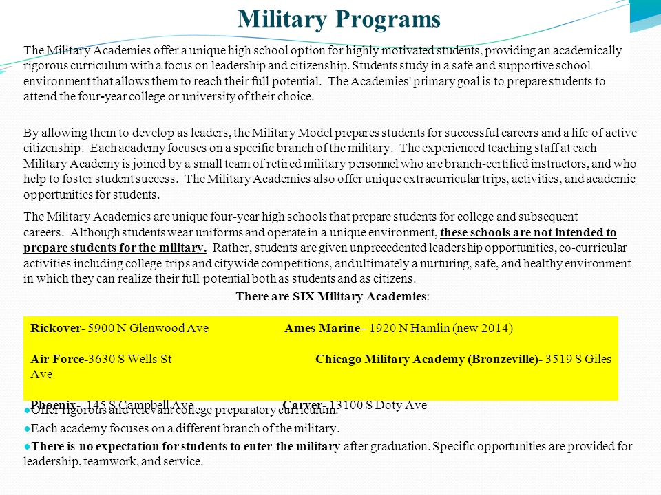 There are SIX Military Academies: