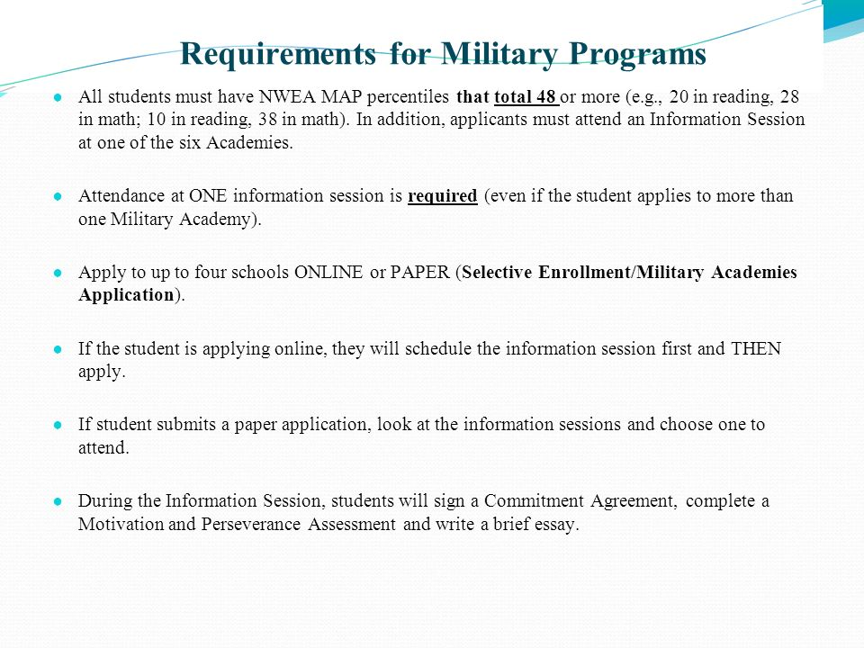 Requirements for Military Programs