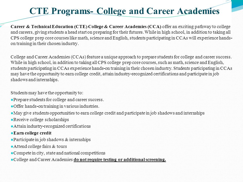 CTE Programs- College and Career Academies