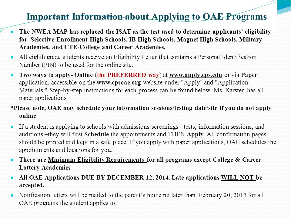 Important Information about Applying to OAE Programs