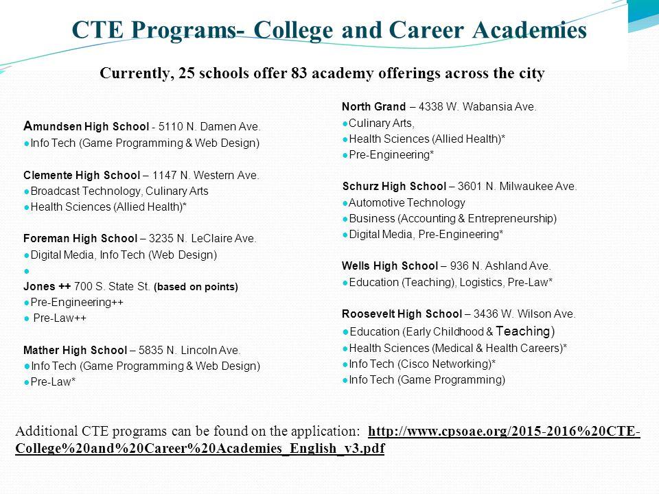 CTE Programs- College and Career Academies