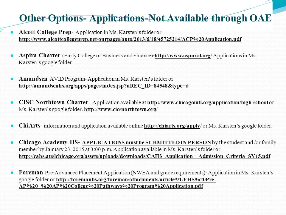 Other Options- Applications-Not Available through OAE