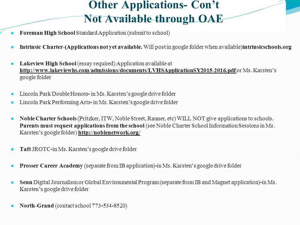 Other Applications- Con't Not Available through OAE