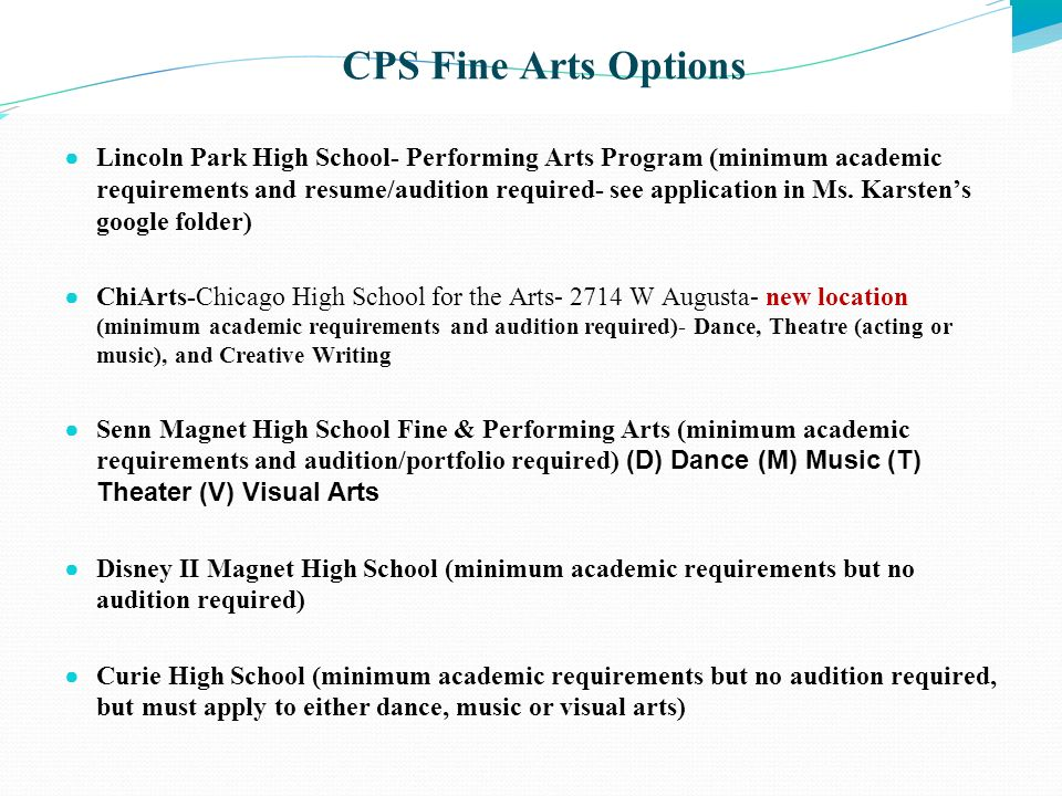 CPS Fine Arts Options