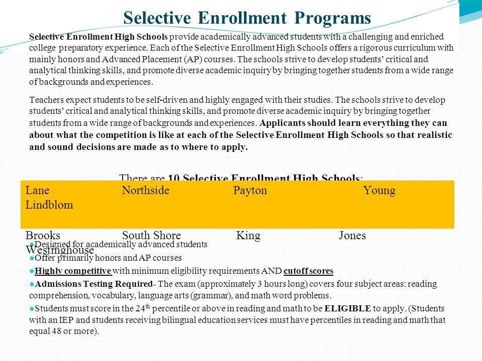 Selective Enrollment Programs