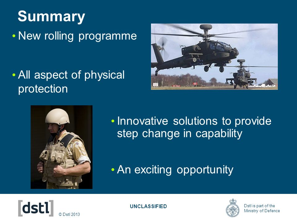 Summary New rolling programme All aspect of physical protection