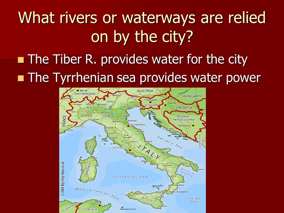 What rivers or waterways are relied on by the city
