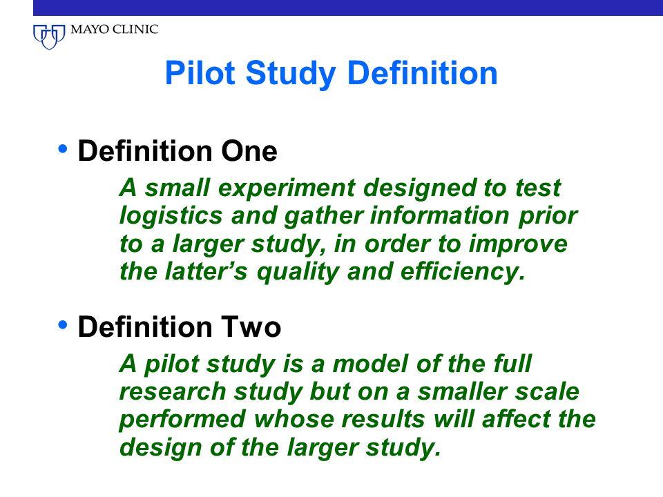 pilot study Conducting a pilot study before a glp study has several advantages.