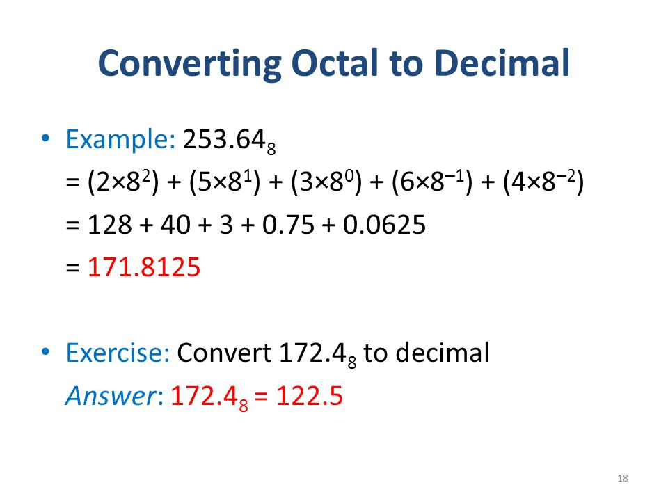 Converting Octal to Decimal