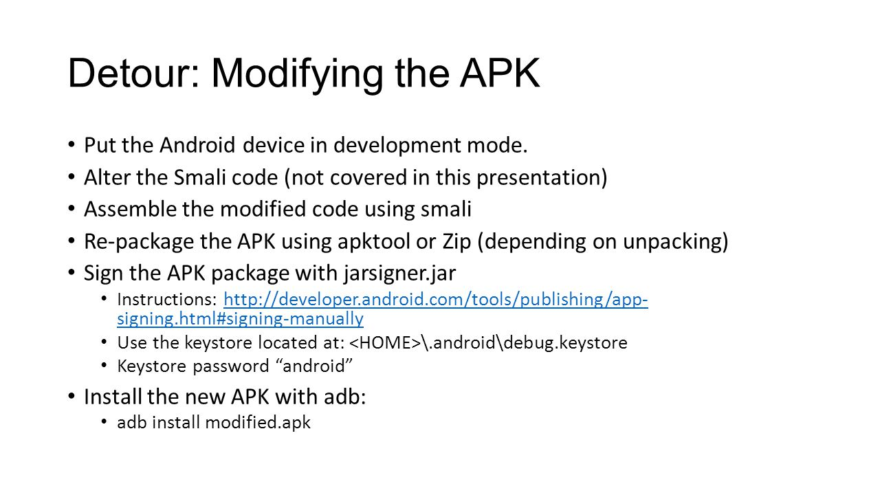 Reverse engineering obfuscated android applications ppt video 25 detour baditri Choice Image