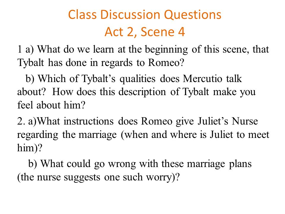 romeo and juliet act i discussion Romeo and juliet summary provides a quick and easy overview of romeo and juliet's plot describing every major  act v in mantua, romeo learns of juliet's death,.