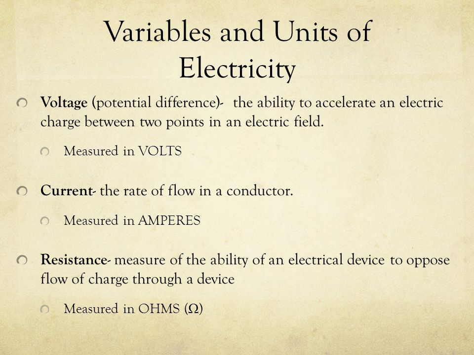 Variables and Units of Electricity