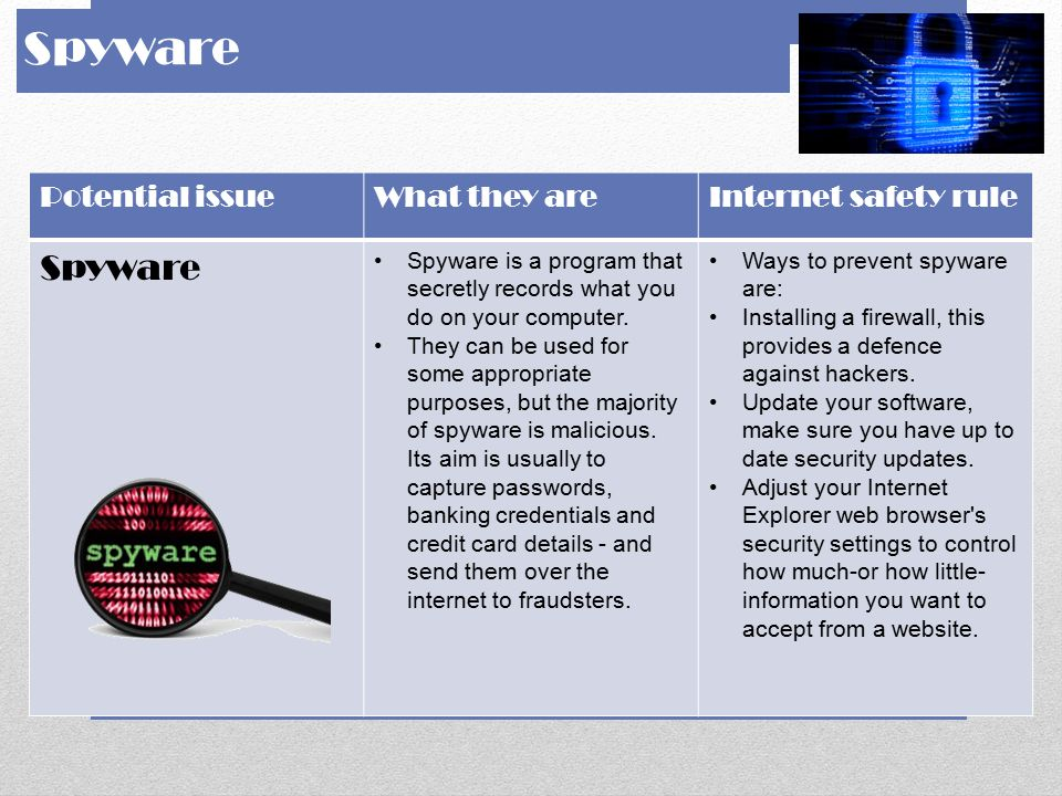 Spyware Spyware Potential issue What they are Internet safety rule