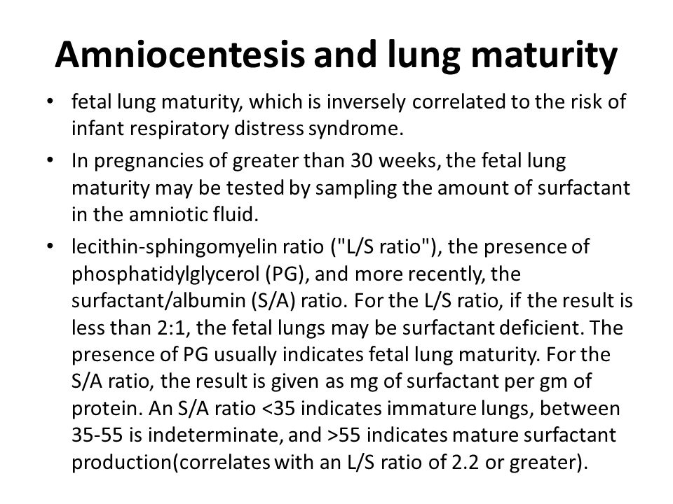 Amniocentesis for lung maturity