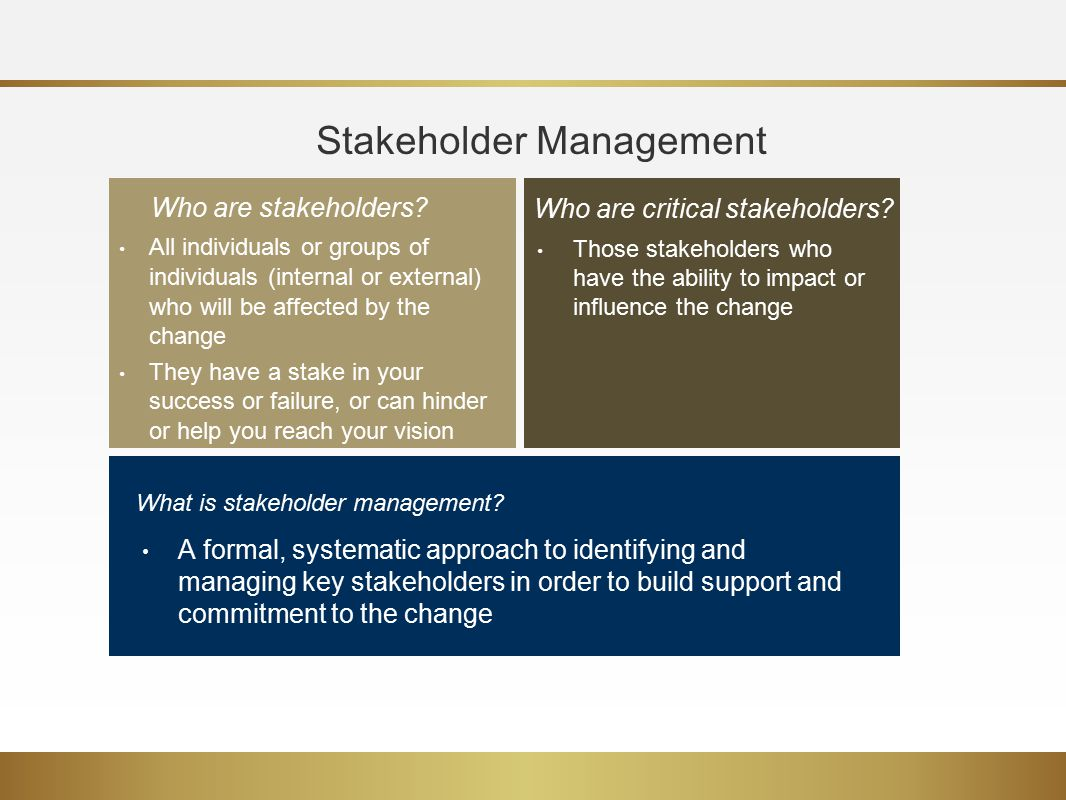 key factors of stakeholder management 2017-5-23 an approach to performance management in collaborative networks based on stakeholders' key success factors pedro s ferreira 1, pedro f cunha 1,2, luís carneiro 3, andré sá 3.