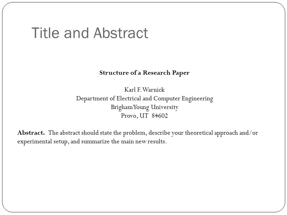 Basic structure of a research paper