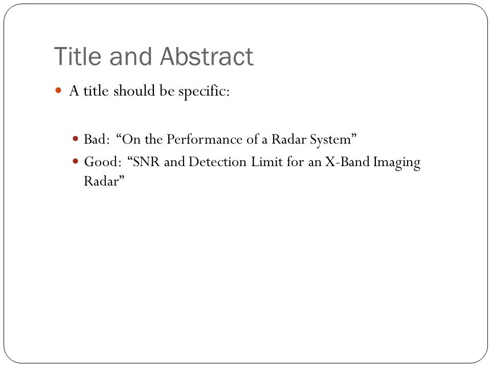 How To Write an Abstract: Writing an Abstract The Right