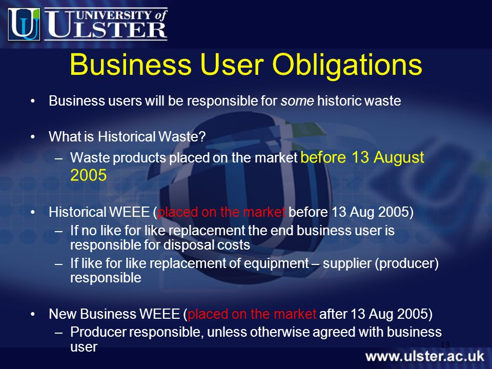 Business User Obligations