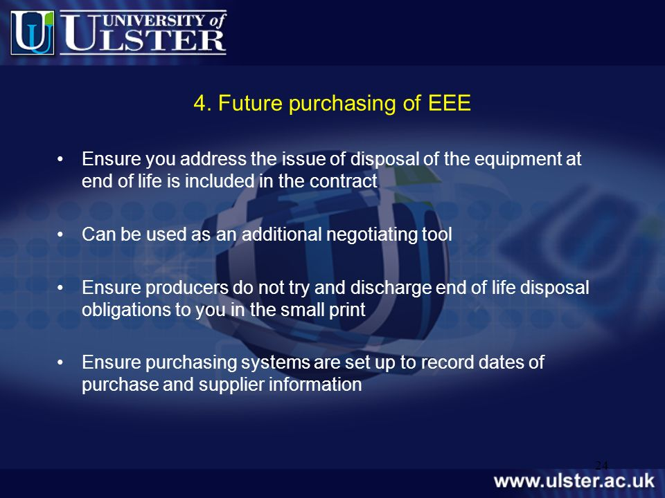 4. Future purchasing of EEE