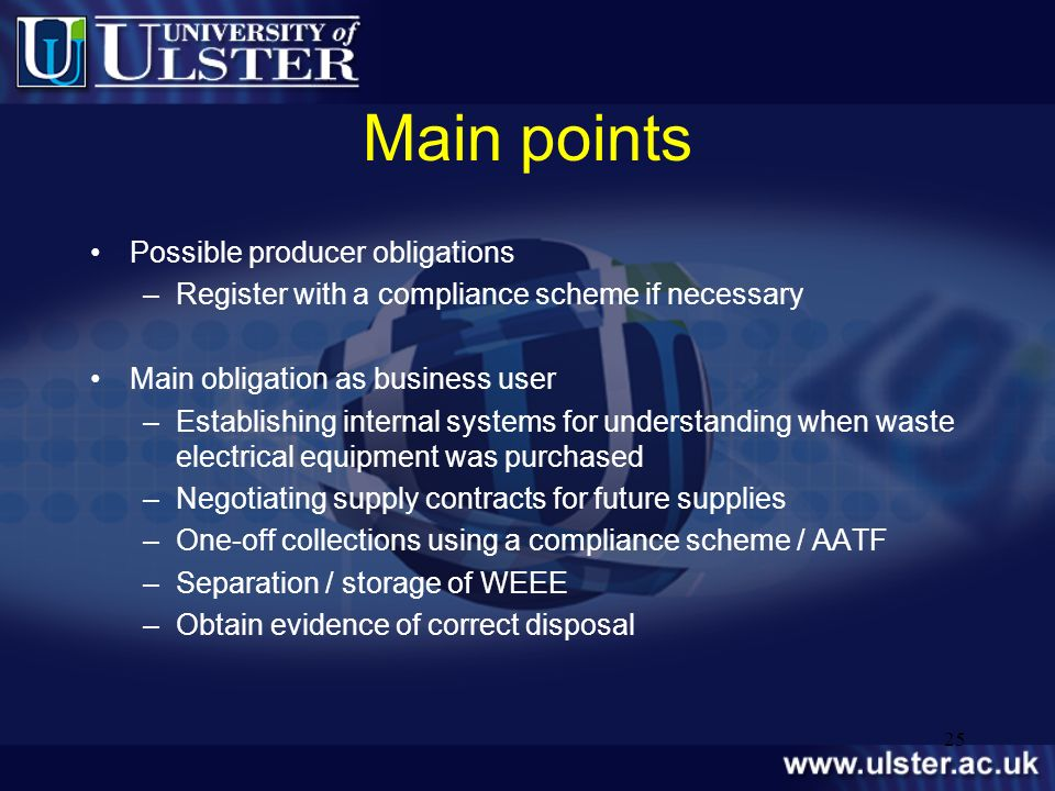 Main points Possible producer obligations