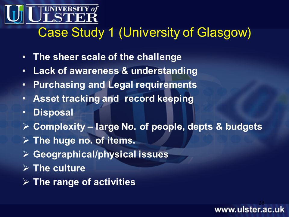 Case Study 1 (University of Glasgow)