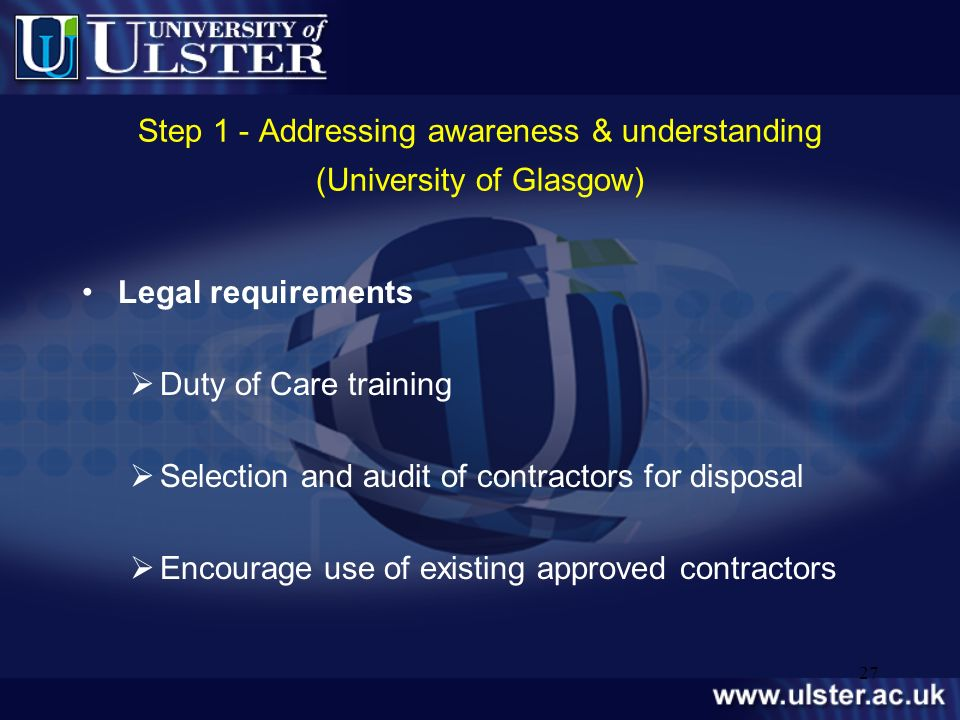 Step 1 - Addressing awareness & understanding (University of Glasgow)