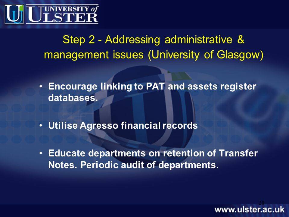 Step 2 - Addressing administrative & management issues (University of Glasgow)
