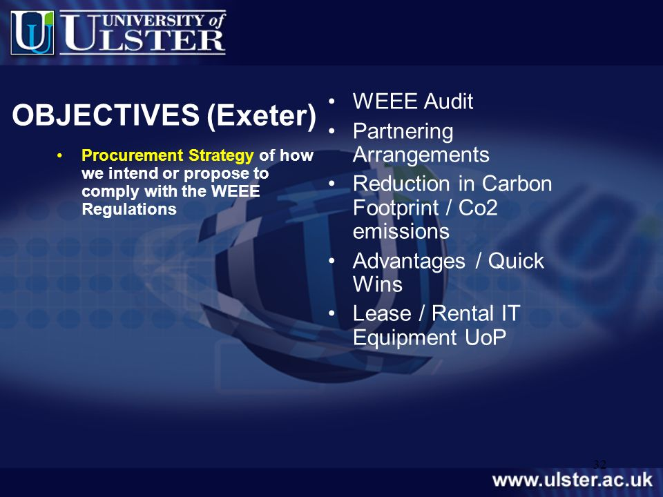 OBJECTIVES (Exeter) WEEE Audit Partnering Arrangements