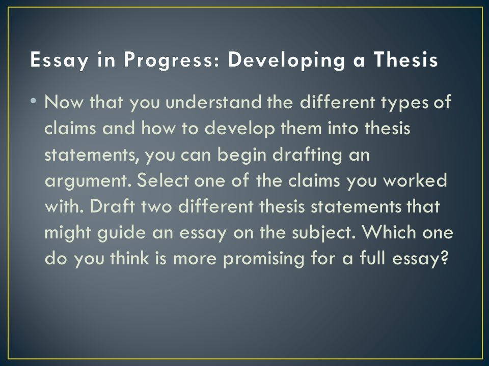 Developing a thesis statement for an argumentative essay