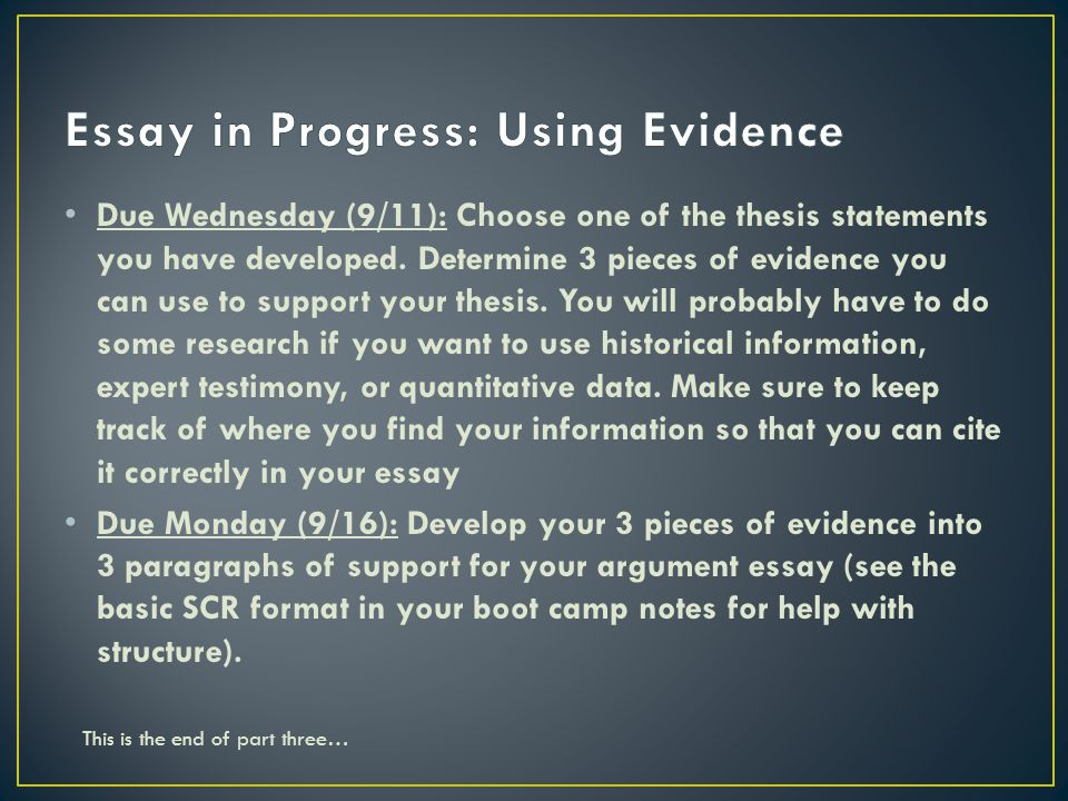 using evidence in an essay In argument, evidence refers to facts, documentation or testimony used to strengthen a claim, support an argument or reach a conclusion.