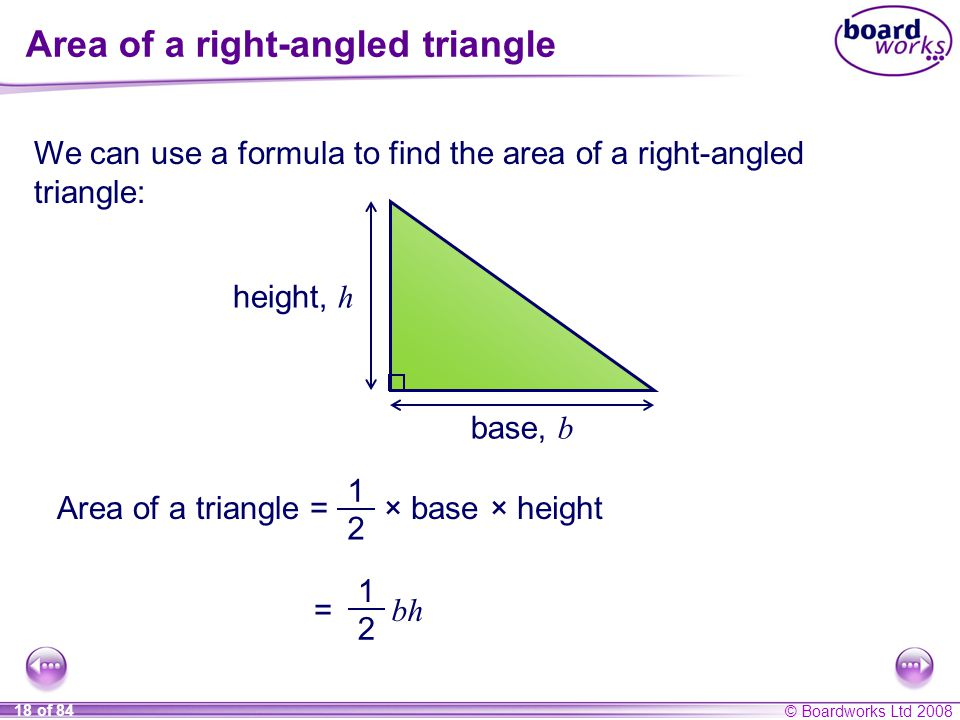 Area of a right-angled triangle