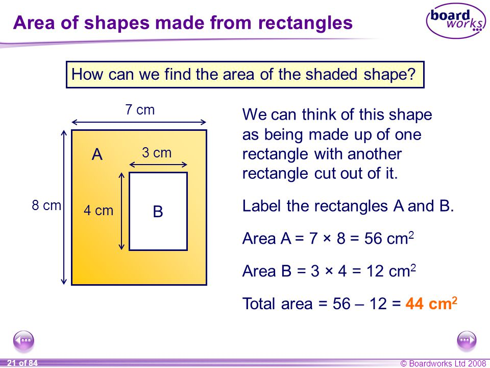 Area of shapes made from rectangles