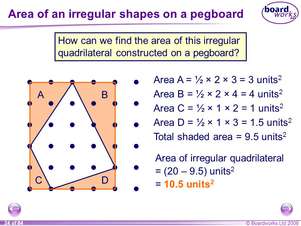 Area of an irregular shapes on a pegboard