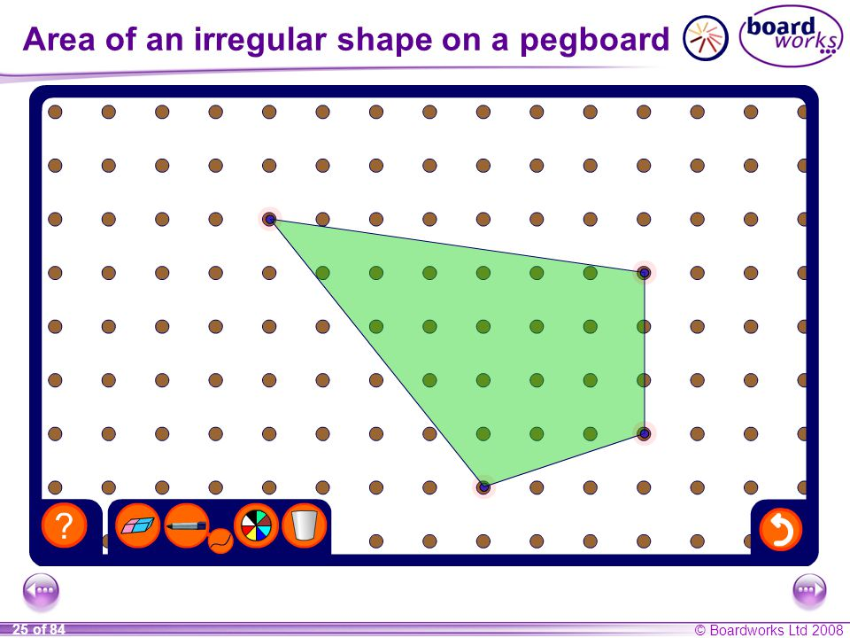 Area of an irregular shape on a pegboard