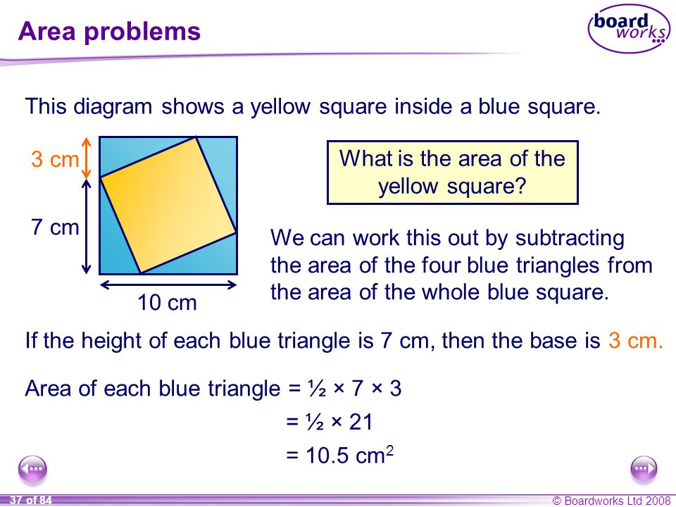 What is the area of the yellow square