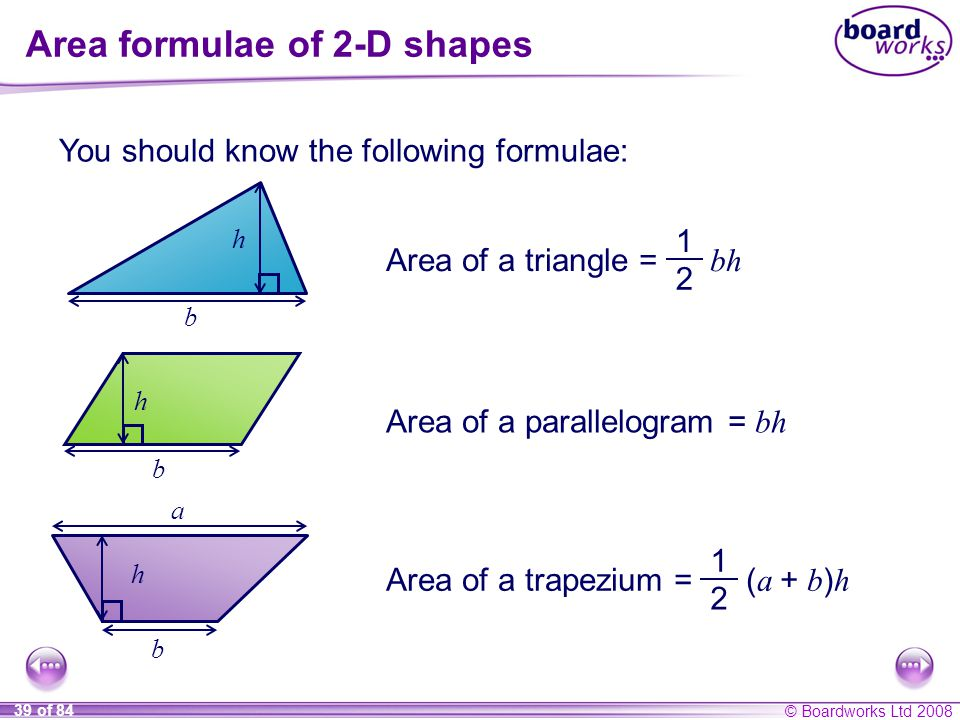 Area formulae of 2-D shapes