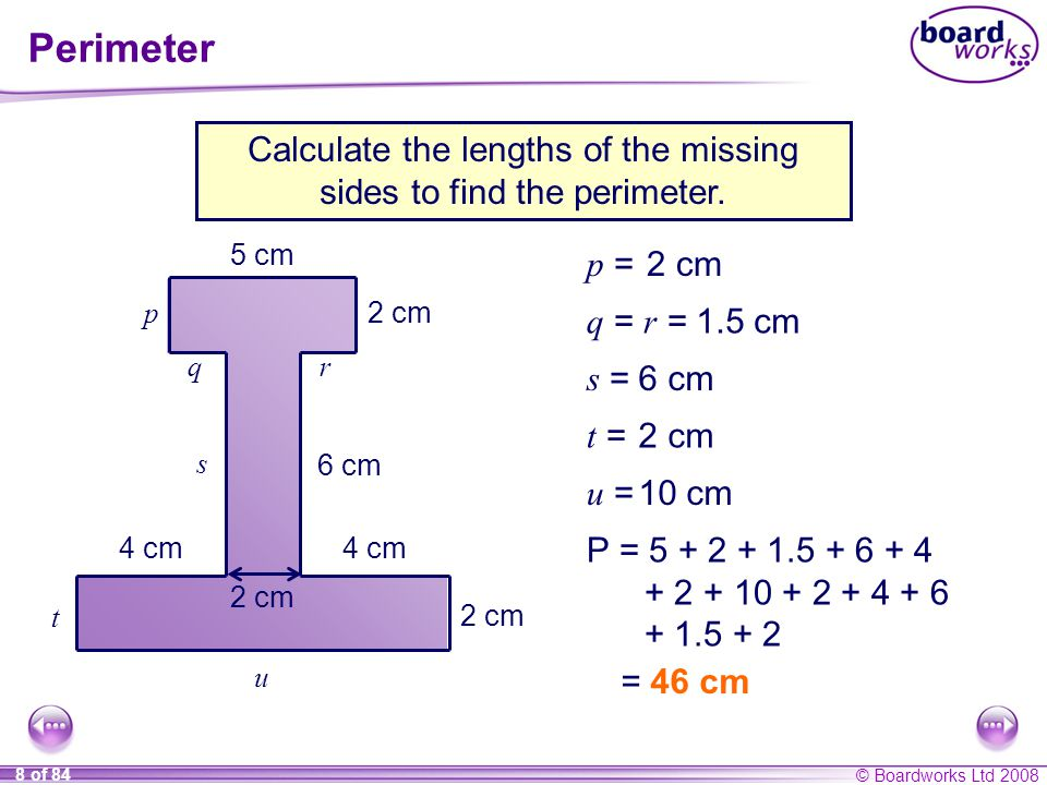 Calculate the lengths of the missing sides to find the perimeter.