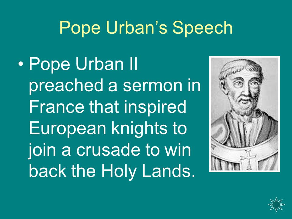 pope urban ii speech essay Pope urban ii (latin: within fulcher of chartres account of pope urban's speech there was a promise of remission of sins for whoever took part in the crusade.