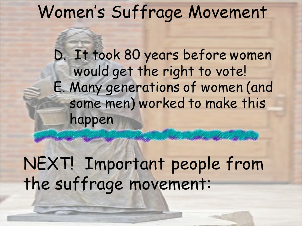 women s suffrage movement National women's history museum toggle navigation women's history exhibits the 1913 woman suffrage procession through parading for progress this exhibit spotlights the rich and vibrant voice of black women leaders in the movement and highlights their significant roles and.