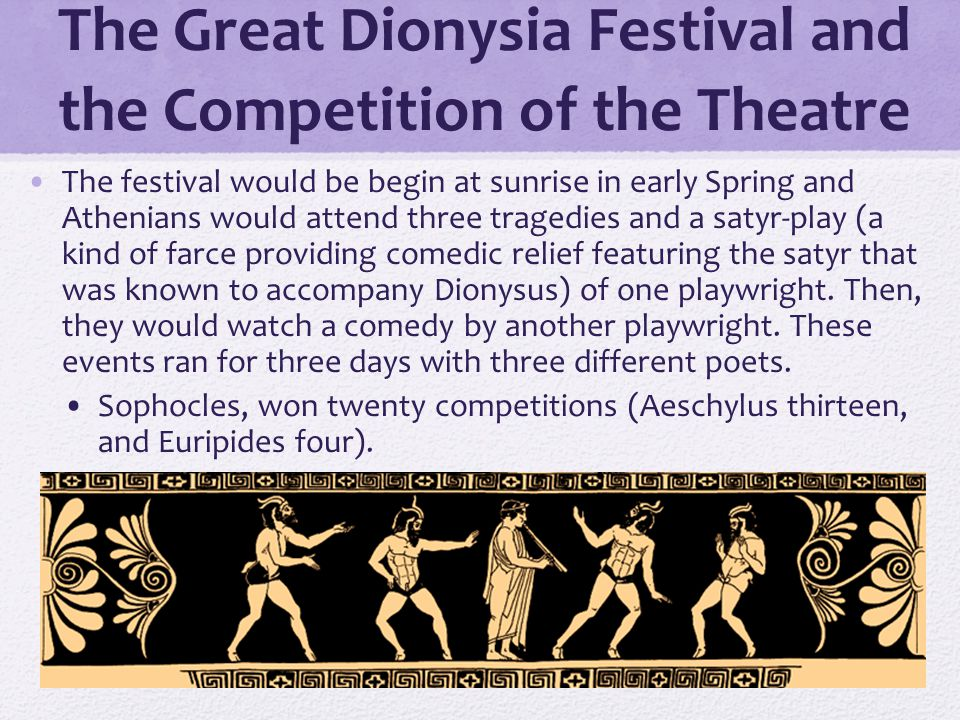 the three tragic poets at the annual festival of dionysus The works of only three poets,  in addition to three tragic plays (a trilogy)  at an annual religious festival at which a large chorus of men would dance,.