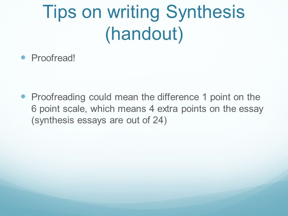 Synthesis/Analysis Essay Handout