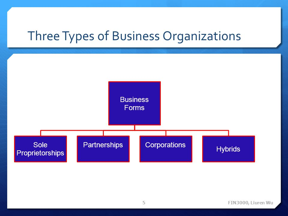 Three forms of business organization